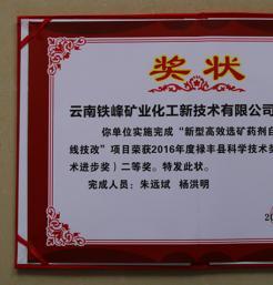 我公司一项成果获禄丰县科技进步奖二等奖